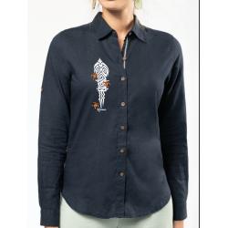 Chemise en lin et coton Femme Manches Longues Les tortues
